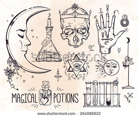 Set of trendy vector Alchemy symbols collection on grunge background. Religion, philosophy, spirituality, occultism, chemistry, science, magic. Design and tattoo elements.Vector illustration.