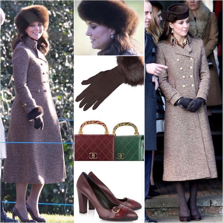 It's Kate's first appearance in 2018! She chose to wear her £685 Moloh Turpin coat she wore on 2014 Christmas Day when she was pregnant with Charlotte. She paired it with her Lacorine Sumac Style in chocolate brown, £267 Tod's pumps with fringes, the brown Cornelia James Clementine Gloves with faux fur trim, sapphire and diamond earrings and carried her burgundy Chanel bag she debuted in Paris last year. . . #katemiddleton via ✨ @padgram ✨(http://dl.padgram.com)