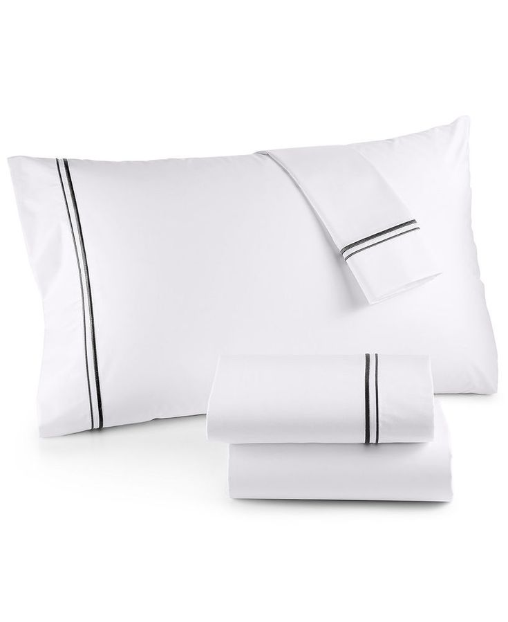 Hotel Collection Embroidered Frame Egyptian Cotton CHARCOAL Queen Sheet Set $250 #HotelCollection #Modern#homedecoration#Bedding#