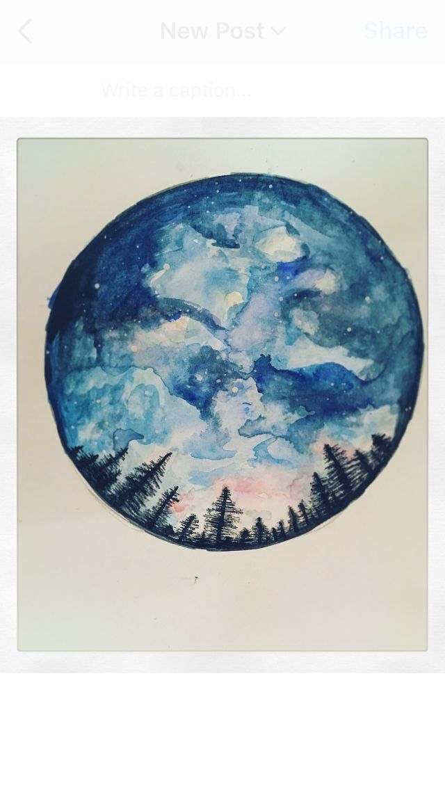 Watercolour painting landscape blue sky trees geometric love