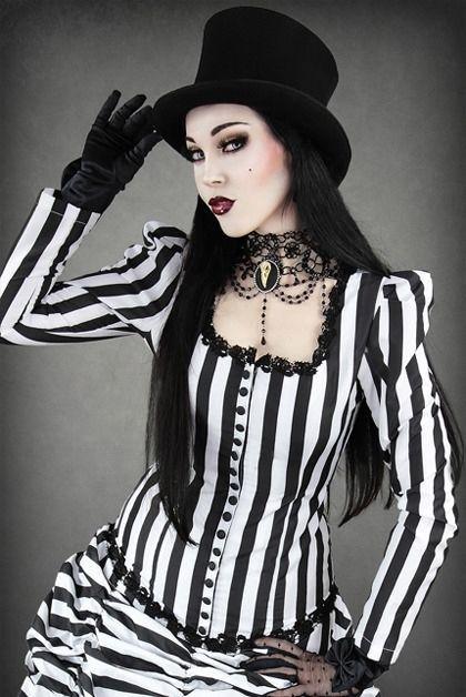 Gestreifte Bluse viktorianisch schwarz weiß Gothic Steampunk Burlesque victorian