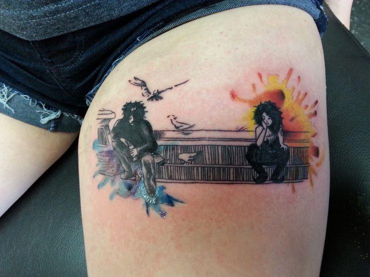 Got this #NeilGaiman #Sandman #tattoo today on my thigh; the #Death and #Dream panel from Preludes and Nocturnes. ❤️