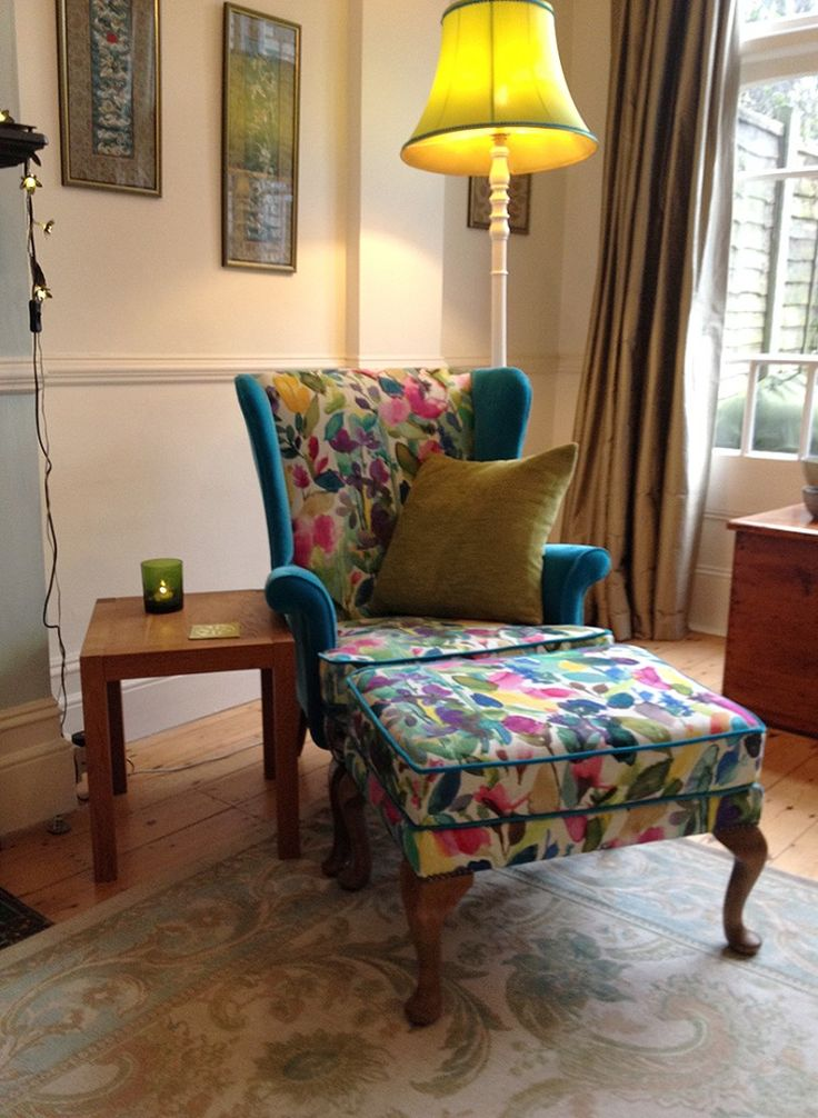 A Pair Of Parker Knolls Refurbished And Recovered In BluebellGray Petite  Grande Mode And Designers Guild Varese Turquoise