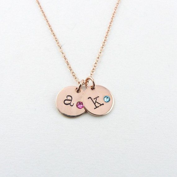 Personalized Name Necklace Disc Necklace with Initial /& Birthstone Jewelry Custom Christmas Gift
