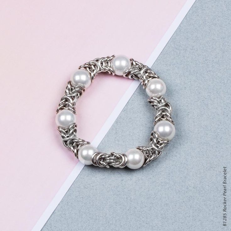 Rocker Pearl Bracelet - Burnished silver plated Byzantine chain stretch bracelet with cool white shell pearls