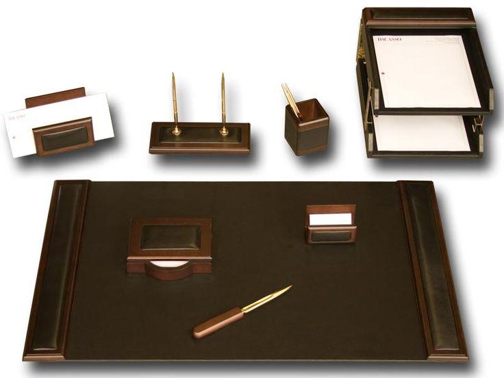 Walnut Amp Leather 10 Piece Leather Desk Set Executive