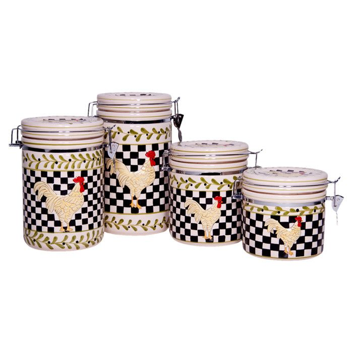 4 Piece Glencow Canister Set. White Kitchen ...