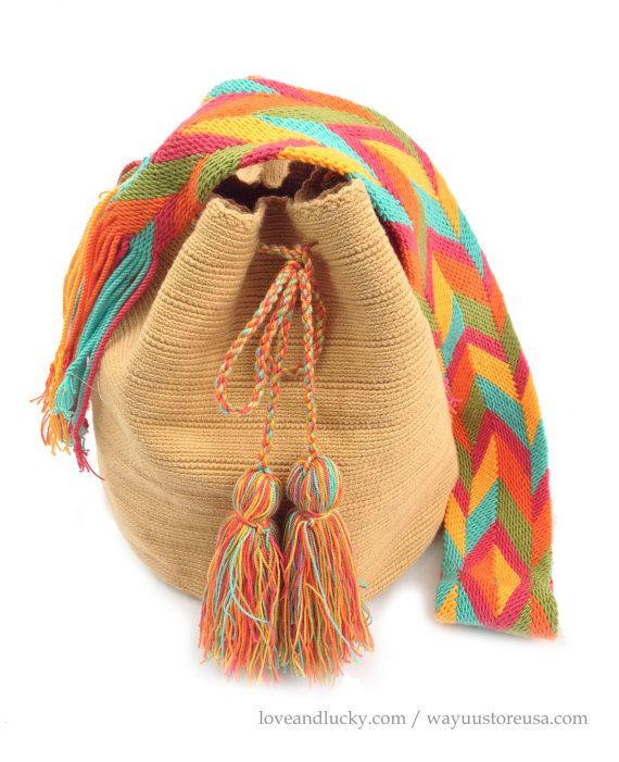 """Authentic Wayuu Bags Wayuu Mochila Size 11"""" x 9"""".wybag-43 on Etsy, $89.00"""
