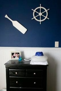 Nautical boy room- white B Board with dark walls above