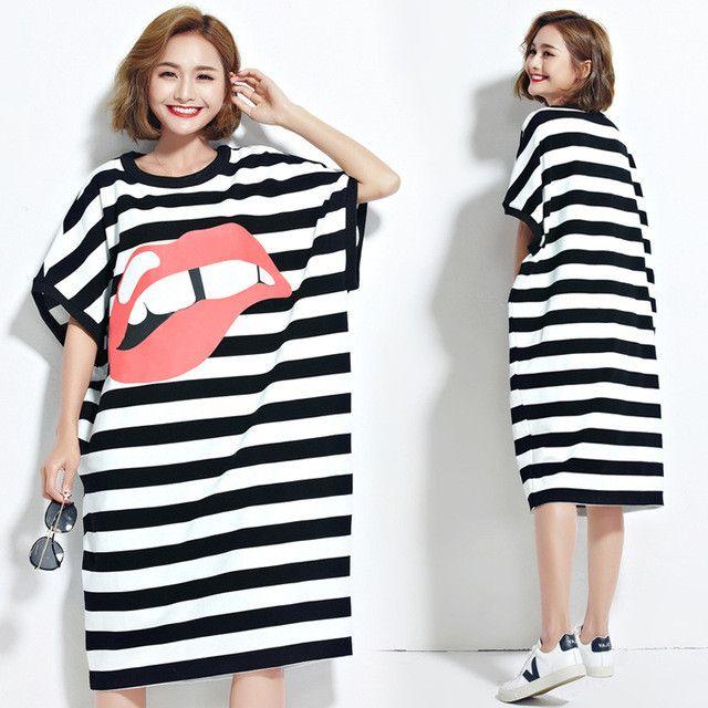 DIMANAF Women Plus Size Dress Summer Style Striped Lips Print Female Casual Fashion Long Sweet Stylish Batwing T-Shirt Dresses