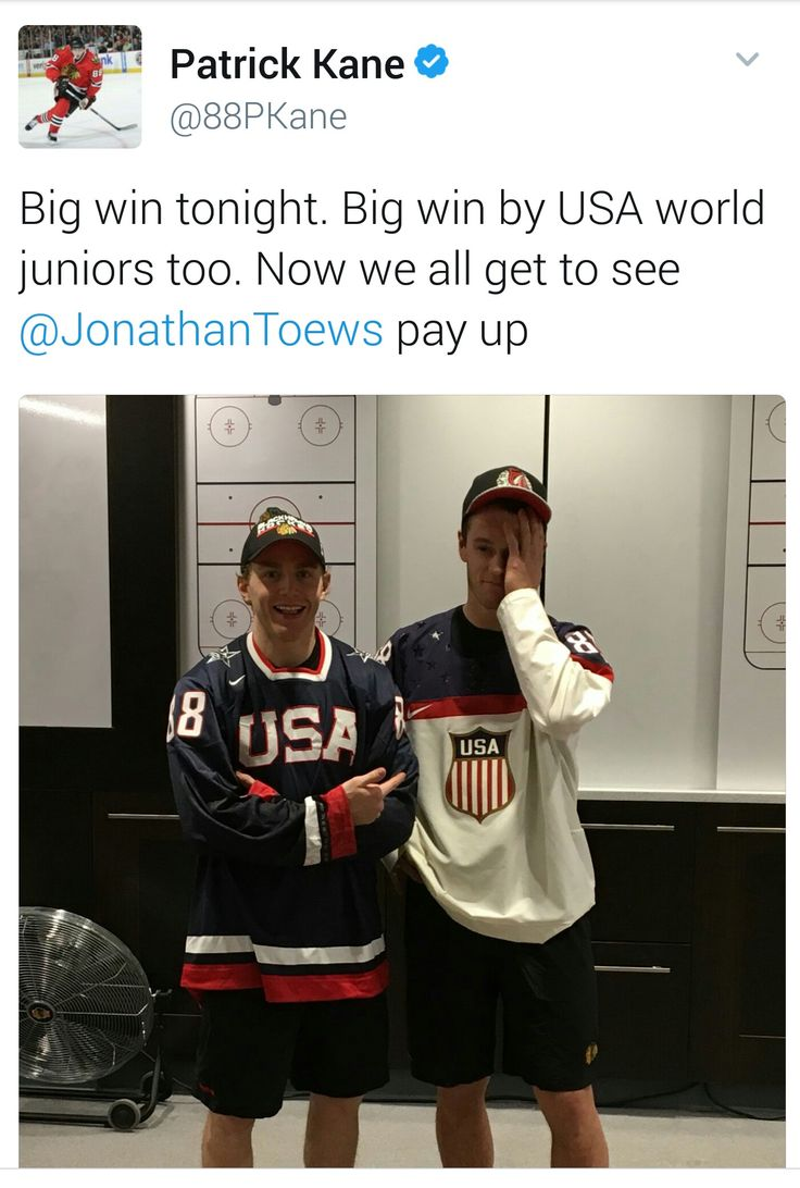 USA beat Canada in the Gold medal round of the World Juniors Hockey tournament. So Jonathan Toews (who is Canadian) lost a bet to Patrick Kane and had to pay up! Lmao