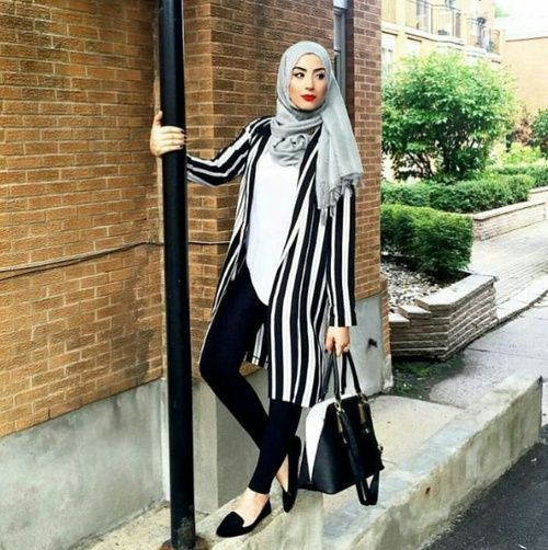 striped long jacket hijab chic