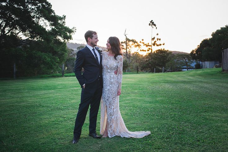 Bride and groom photos at sunset at the Yandina Station wedding venue