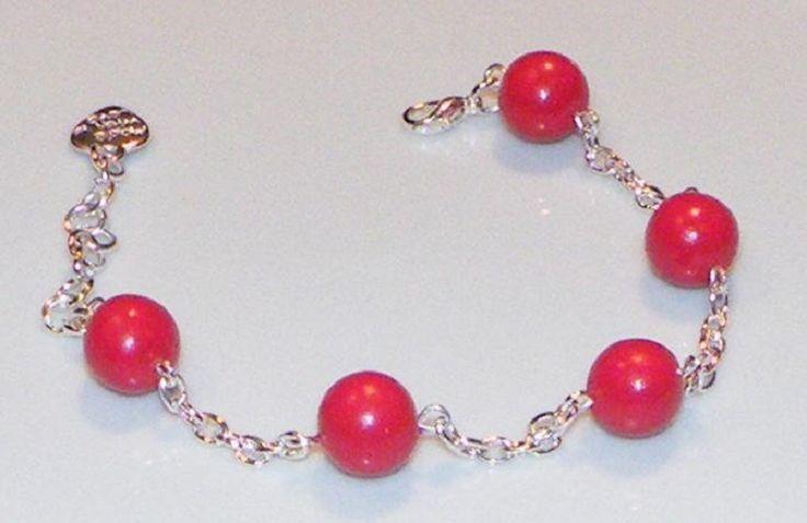 Bracelet perles de fimo couleur cerise : Bracelet par jl-bijoux-creation