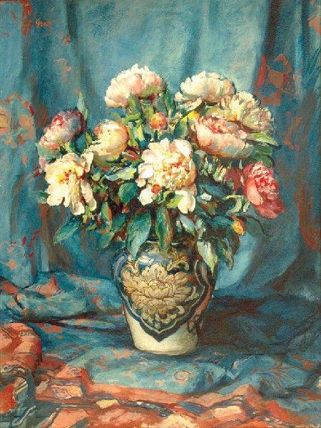 Teodor GROTT (1884-1972)  Kwiaty w wazonie olej, tektura, 90 x 67 cm