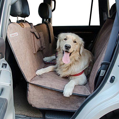 Furry Buddy Waterproof 900D Polyester Dog Seat Cover for Cars SUVs-56''Wx62''L Side Flaps Non-Slip Zipper Split Design Convertible Pet Car Hammock & Bench Seat Cover Brown
