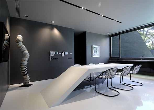 dining room interior design concrete house ii by a cero architects