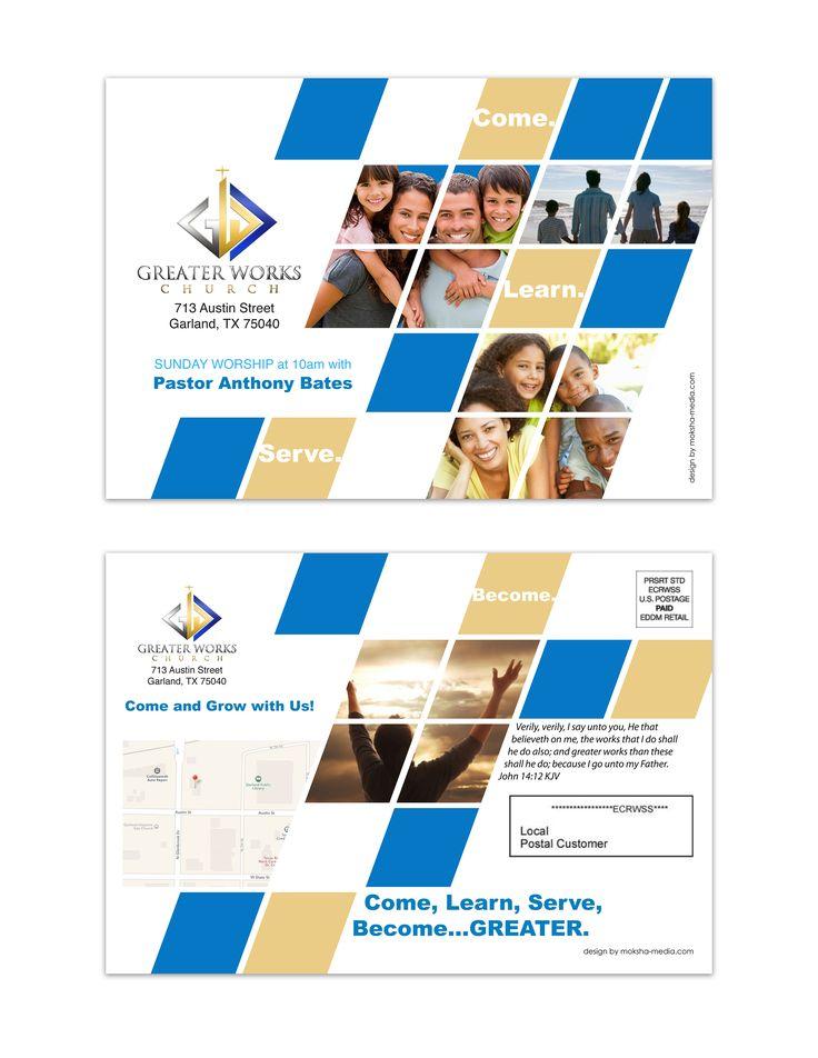 """Flyer Design (9"""" x 6"""" Mailer) for Greater Works Church, designed by Moksha Media of Dallas - Daymond E. Lavine"""