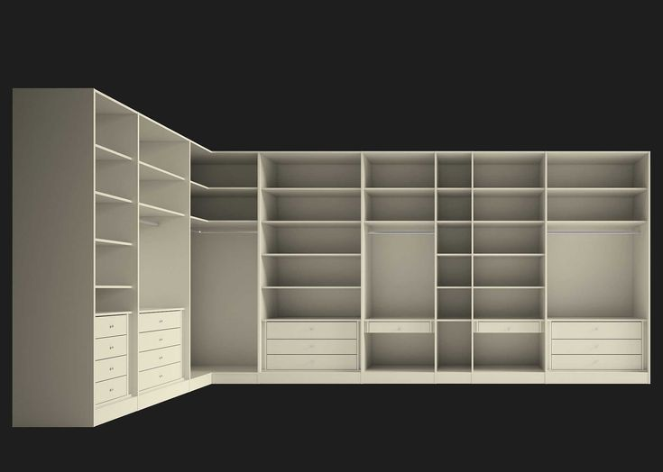 Life box VE03. A spacious, complete walk-in wardrobe in an L shape