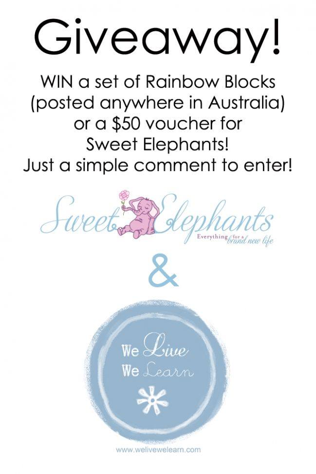 Australia- Rainbow Blocks giveaway from Sweet Elephants and We Live, We Learn!!!!