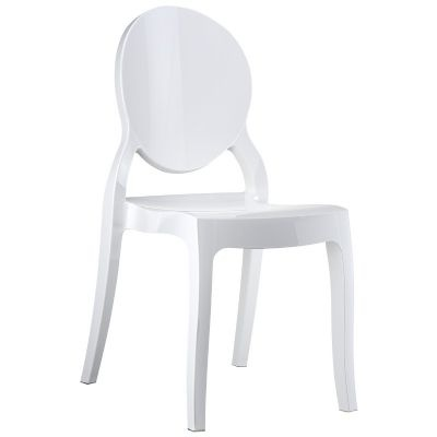 Elizabeth Glossy Polycarbonate Outdoor Bistro Chair White for $199 #CozyDays #DiningChairs #OutdoorFurniture