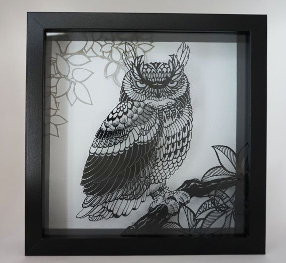 Layered handmade paper cut - Owl, framed in shadow box, wall art