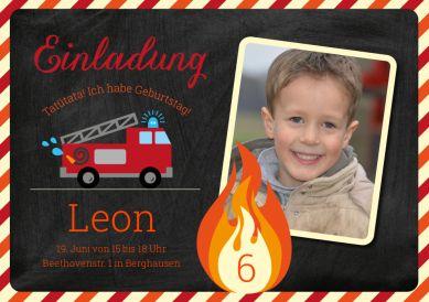 Tolle Einladungskarte mit Foto und Feuerwehrauto zum Kindergeburtstag – für echte Feuerwehrfreunde! (6. Geburtstag)