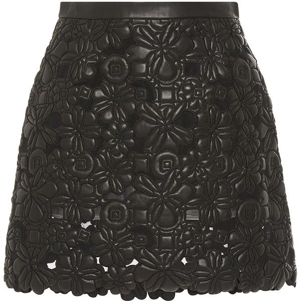 Elie Saab Black Embroidered Leather A-Line Skirt (17,600 CNY) ❤ liked on Polyvore featuring skirts, mini skirts, bottoms, saias, elie saab, scallop hem skirt, floral mini skirt, leather skirt, a line skirt and floral skirt