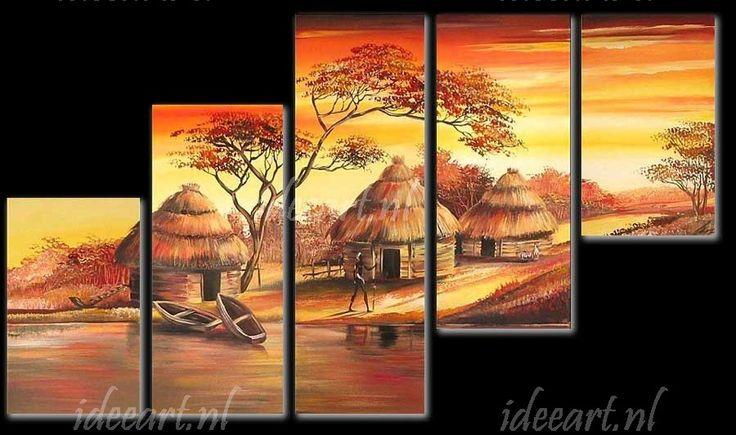 Afrikaans Dorp   Schilderijen Afrika