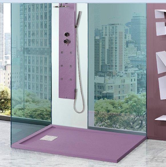 Los Platos de ducha de Resina con su amplia carta de colores permite combinaciones muy dinámicas en tu baño #bañosencolor