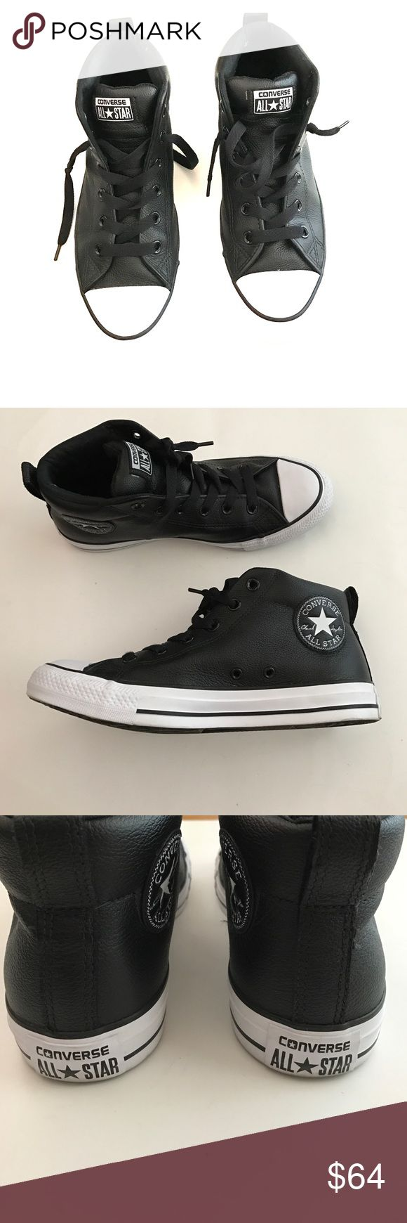 Leather Black Converse Leather Black Converse. Mid Top. Worn only once indoors. Size 7 in men's | 9 in women's Converse Shoes Sneakers