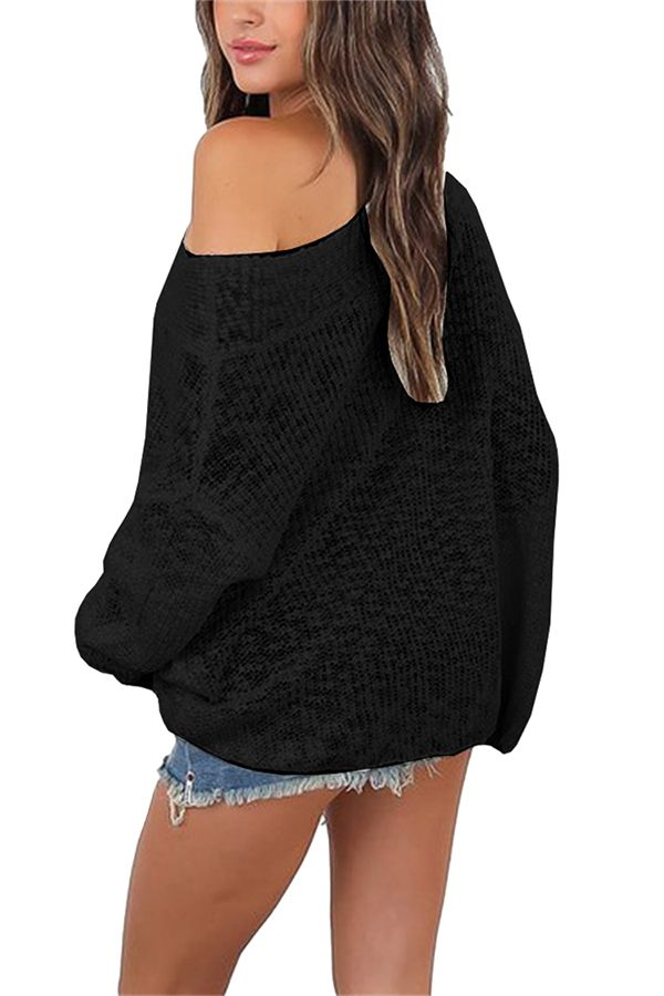 40ea5c0194ffd0 Womens Sexy Off Shoulder Long Sleeve Oversized Pullover Sweater Black