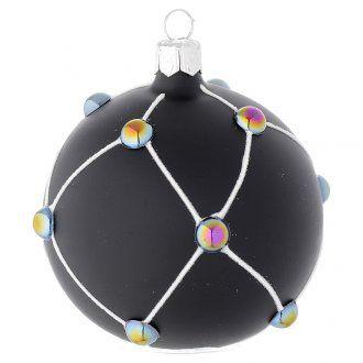 Pallina vetro nero satinato e pietre 80 mm | vendita online su HOLYART