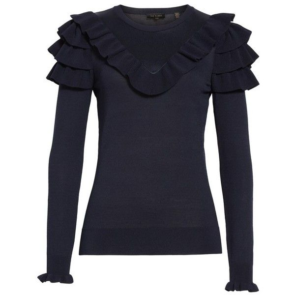 Women's Ted Baker London Hellgar Satin Contrast Ruffle Sweater ($209) ❤ liked on Polyvore featuring tops, sweaters, dark blue, ted baker sweater, slimming tops, flounce top, crew neck top and dark blue sweater