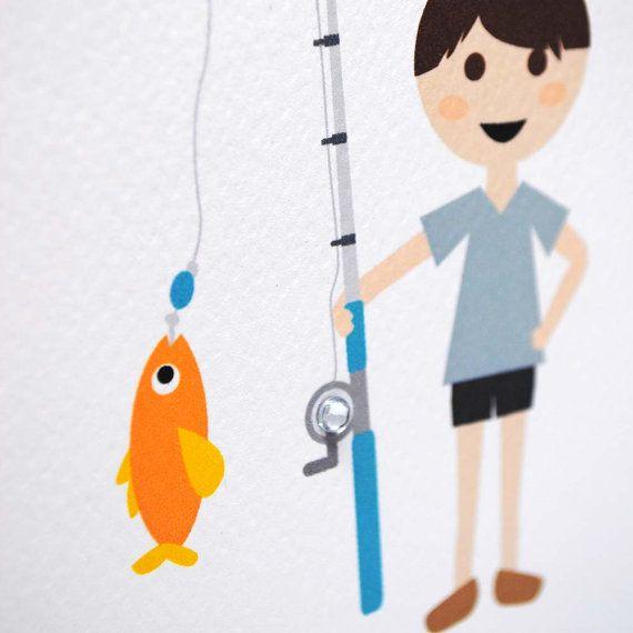 Carta di compleanno ragazzo ragazzo pesca HBC241 /