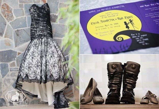 Slip on a black dress and kick-ass boots. | 24 Completely Bewitching Tim Burton Inspired Wedding Ideas