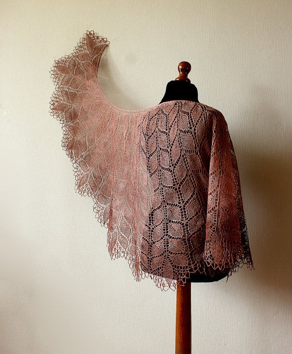 Handknitted Linen lace shawl  rectangular brown от KnittyStories