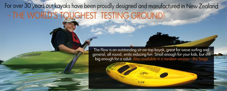 Flow Kayak. Great for wave surfing, small enough for children but still big enough for an adult.