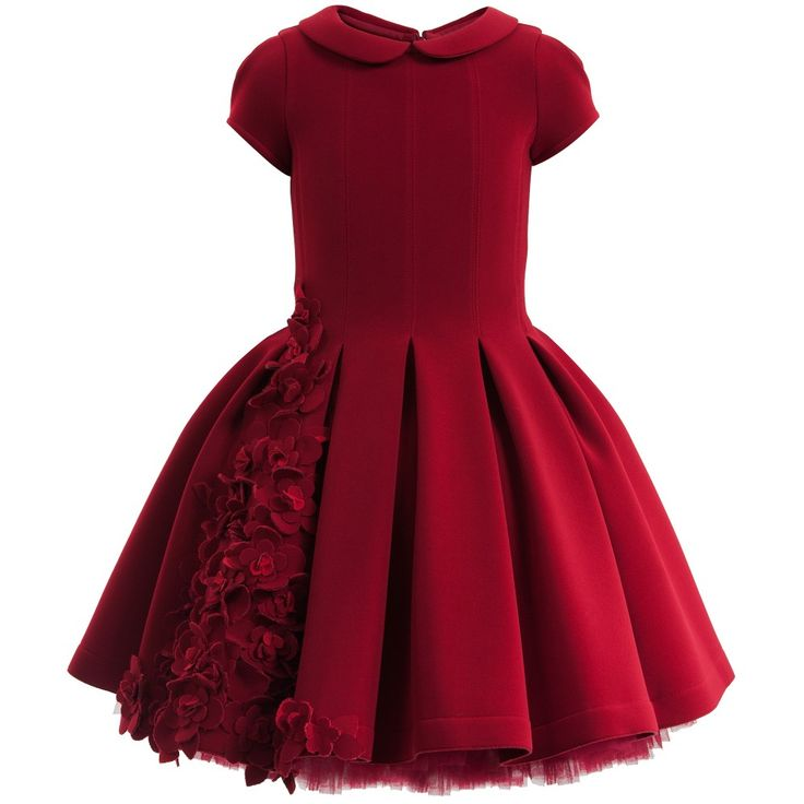 Monnalisa Red Neoprene Couture Dress with Flowers at Childrensalon.com