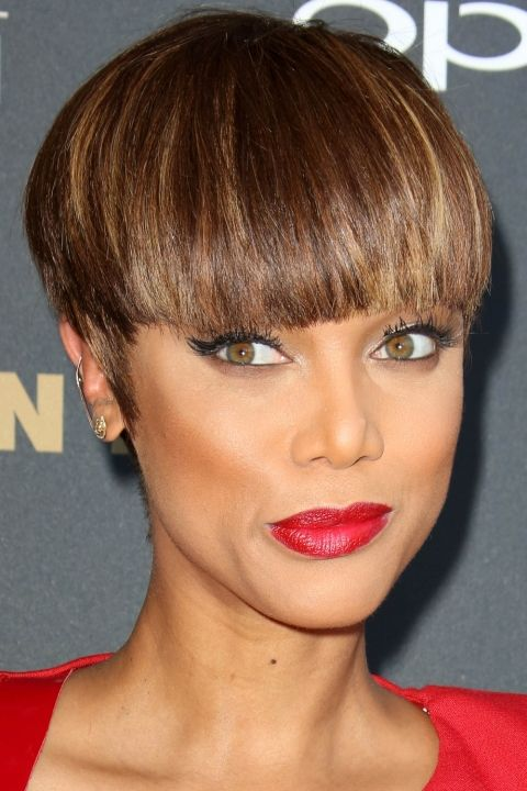 Tyra Banks Debuts Her Edgy Bowl Cut, 2015, haha same haircut I had a half year ago ;)