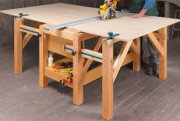 Expandable Shop Table. This would work so well in the two car garage where I cut down panels of plywood for projects.