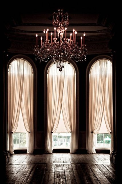 Long, romantic drapery + a dimly light chandelier. #castle #glam | flickr.com Photo from gigigonzalezSpaces, Dining Room, Sheer Curtains, Dreams, Big Windows, Dance Studios, Ballrooms, House, Windows Treatments