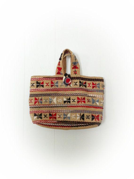Vintage 1970s Burlap Purse with Yarn Embroidery by ArtDecoDame
