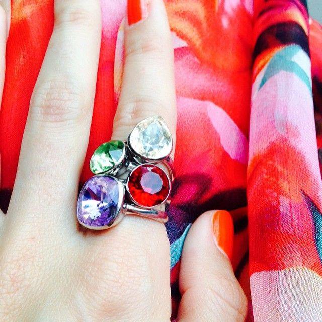 I think I shall stack em today! 💜💚❤️ #sparkle #bling #stacked #SwarovskiCrystal #Swarovski #sterlingsilver #marisakatedesigns
