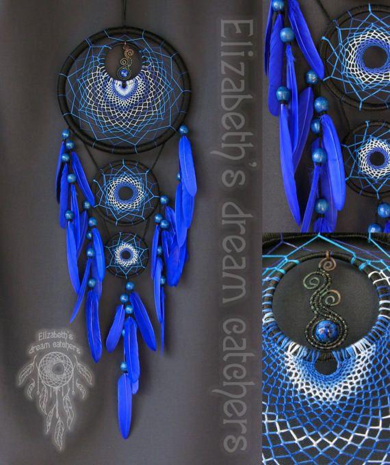 Dreamcatcher Dream catcher Blue feathers by ElizaDreamCatchers
