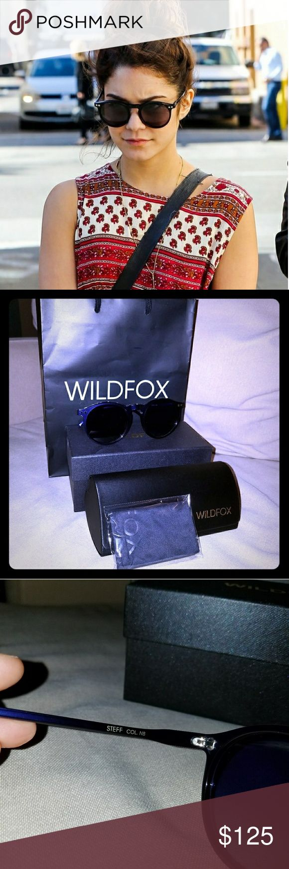 New! Wildfox Navy Blue Steff Sunglasses The Steff is the girly and glam Wildfox version of the traditional panto: a circular frame with a high hinge. Delicate star detailing. Handmade with Italian acetate. CR39 optical grade lenses offering UV A and B protection. 3 barrel French comotec hinge. Case, cleaning cloth, box and bag included.   Eye width: 50mm  Bridge Width: 14mm  Temple length: 135mm  Wildfox Accessories Sunglasses