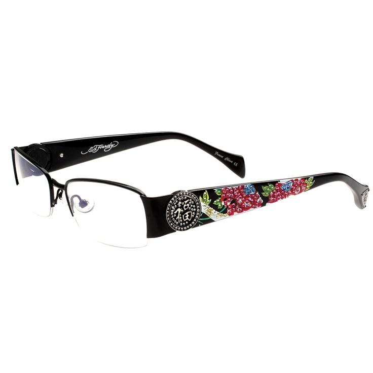 ed hardy eho 726 womens designer eyeglasses shiny black the ed hardy eho726 designer