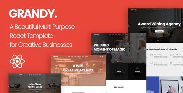 Grandy Creative Multi Purpose React Template In 2021 Joomla Templates Wordpress Theme Grandy