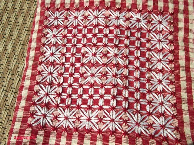 chicken scratch on red and white gingham <3