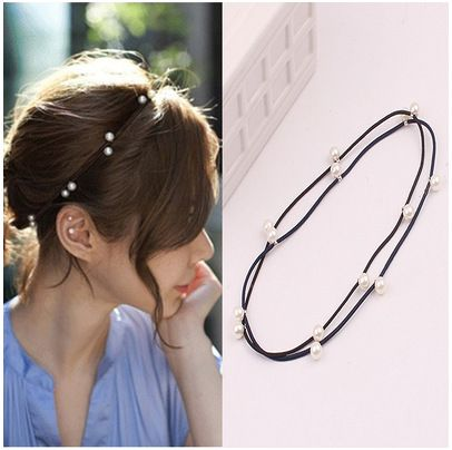 [6863]elastic band bracelet summer style hair accessories women headband clips gum weave baffle braided bow bandana ornaments